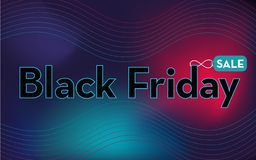 Dark horizontal web banner, website cover, page informing about sale and discount on black Friday. royalty free illustration