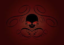 Dark horrific background. An illustrated horrific background with a skull and floral patterns Royalty Free Stock Photography