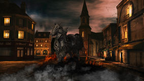 Dark Horse. A dark horse in a knight armor walking in the night through a city and draws a trail of fire behind him. Smoke surrounded the horse Stock Images