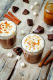 Dark hot chocolate with whipped cream and salted caramel sauce o royalty free stock photo