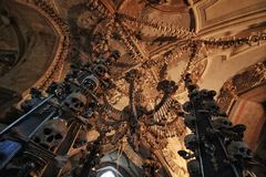 Dark Human bone church. Seduce ossuary at kit a hora, Czech Stock Image