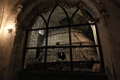 Dark Human bone church. Seduce ossuary at kit a hora, Czech stock photos