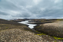 Dark Iceland Landscape With Green Moss Royalty Free Stock Image