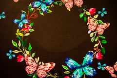 Dark illustration with bright colorful flowers. And butterflies with space for text Royalty Free Stock Photos