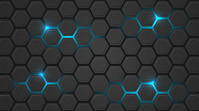 Dark  illustration with a hexagonal pattern and blue backlight. Stock Image