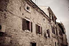 Dark image of an old stone house in Croatia Stock Photography