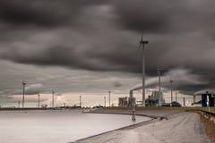 Dark industrial harbor landscape Royalty Free Stock Images