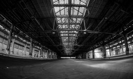 Dark industrial interior of a building Stock Images