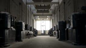 Dark industrial interior stock video