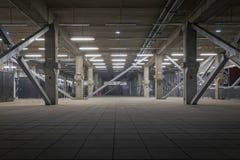 Dark industrial interior at underground. Facility angle shot Royalty Free Stock Photos
