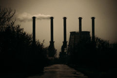 Dark industrial landscape. Environmental pollution Royalty Free Stock Images