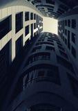 Dark inner courtyard of tall bent tower. 3d Stock Image