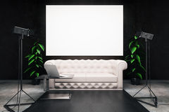 Dark interior with billboard Royalty Free Stock Photos
