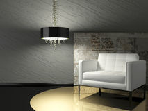 Dark interior design of modern living room royalty free illustration