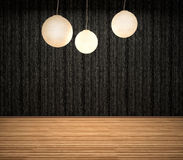 Dark interior with lamps. 3d illustration Stock Image