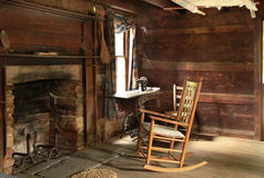 Dark Interior of Old Log Cabin Built in the 1800s royalty free stock images