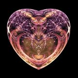 Dark isolated fractal heart. Digital artwork for creative graphic design stock illustration
