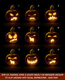 Dark Jack O Lantern Cartoon - 9 Angry Expressions Set Royalty Free Stock Images