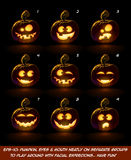 Dark Jack O Lantern Cartoon - 9 Angry Expressions Set2 Royalty Free Stock Photo