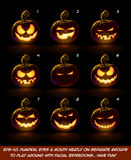 Dark Jack O Lantern Cartoon - 9 Mean n Naughty Expressions Set Royalty Free Stock Photo