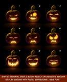 Dark Jack O Lantern Cartoon - 9 Vampire Expressions Set Royalty Free Stock Photo