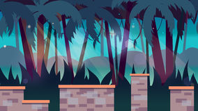 Dark jungles game background 2d game application. Vector design. Tileable horizontally. Size 1920x1080.  Royalty Free Stock Photo