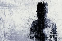 Dark king sketch. Abstract dark king sketch on textured concrete wall background stock images
