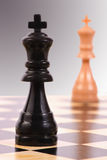 Dark king versus light king. The dark king stands in the foreground. The light king is blurred in the background Royalty Free Stock Image