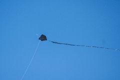 Dark kite flying in blue sky. View of a kite flying in a Summer very blue sky. Picture was taken in a windy afternoon in Baleal beach, Peniche, Portugal Stock Photos