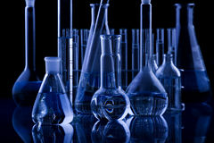 Dark Labolatory Glassware Stock Image