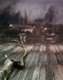 Dark Landscape. A dark Landscape with a Church in Background Royalty Free Stock Photo