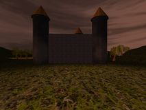 Dark landscape with castle Stock Photos