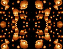Dark lanterns mirrored Stock Photo