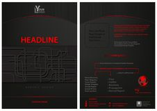 Dark Leaflet Template with Abstract Decoration Stock Photo