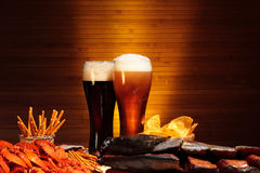 Dark and light beer with crawfish Royalty Free Stock Photography