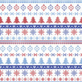 Dark and light blue and red Christmas Nordic pattern with snowflakes, trees ,  xmas trees and decorative ornaments in scandinavian Royalty Free Stock Image