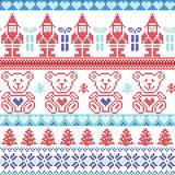 Dark and light blue , red Scandinavian inspired Nordic xmas seamless pattern with elf, stars, teddy bears, snow,christmas  trees, Stock Photos