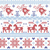 Dark and light blue and red Scnadinavian Christmas cross stitch pattern including reindeer, snowflake, star, Xmas tree, bell, pr royalty free illustration