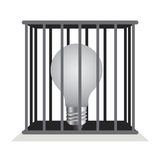Dark light bulb in a cage. Royalty Free Stock Image