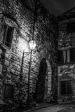 Dark Light. A cold winter night in panzano, a small village in Chianti, aroused deep concern at the silence Stock Photography