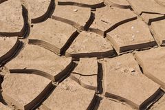 Dry soil texture pattern inside the drying riverbed. Dark and light dry soil texture pattern inside the dry riverbed in the desert Stock Photography