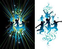 Dark and light jumping people Stock Photo