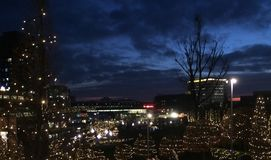Dark and light. Dark night in city Stock Photo
