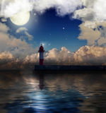 Dark lighthouse under full moon Stock Photos