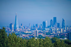 Dark London skyline. The London skyline taken from a hill in south London royalty free stock photos