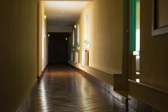 Dark long corridor in a hotel Royalty Free Stock Images