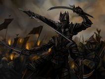 The dark Lord. Multi-armed black knight with swords in front of the troops Stock Photography