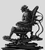 Dark lord sits in suit on his iron throne. Science fiction illustration. Original character the alien astronaut in space body armour. Freehand digital drawing Stock Photography