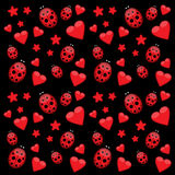 Dark love pattern with ladybug and stars Royalty Free Stock Photo