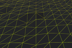 Dark low poly displaced surface with glowing connecting lines Royalty Free Stock Photography